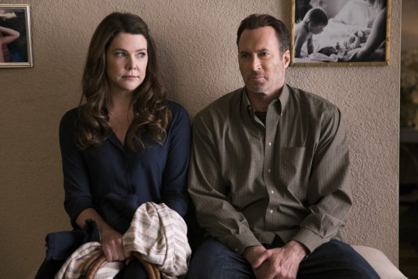 Lauren Graham as Lorelai and Scott Patterson as Luke in 'Gilmore Girls: A Year in the Life'