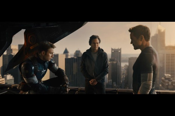 Chris Evans as Captain America, Mark Ruffalo as Bruce Banner and Robert Downey, Jr. as Tony Stark in Avengers: Age of Ultron / Marvel / Disney