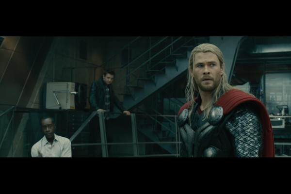 Don Cheadle as James Rhodes, Jeremy Renner as Hawkeye, and Chris Hemsworth as Thor in Avengers: Age of Ultron / Marvel / Disney