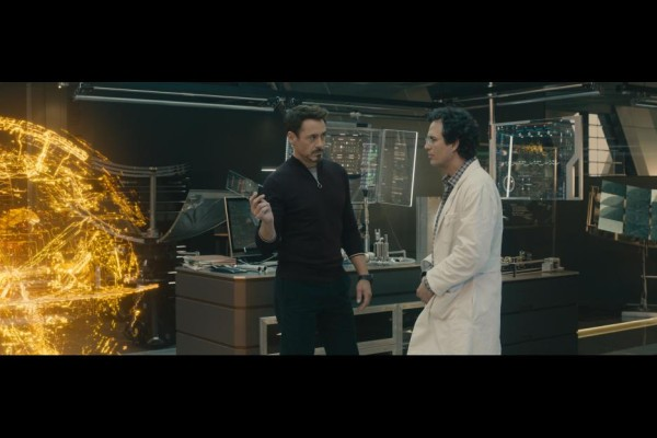 Robert Downey, Jr. as Tony Stark and Mark Ruffalo as Dr. Bruce Banner in Avengers: Age of Ultron / Marvel / Disney