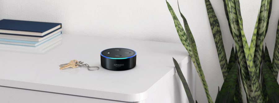 Echo Dot Black on a Bookshelf