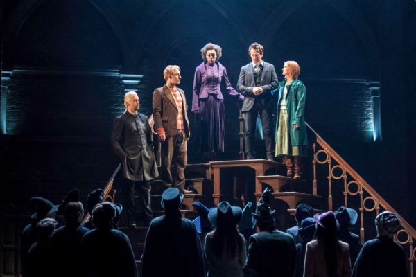 (L-R) Alex Price (Draco Malfoy), Paul Thornley (Ron Weasley), Norma Dumezweni (Hermione Granger), Jamie Parker (Harry Potter), and Poppy Miller (Ginny Potter); Photo by Manuel Harlan