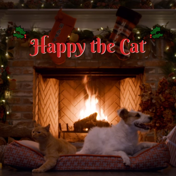 Happy the Cat Yule Log