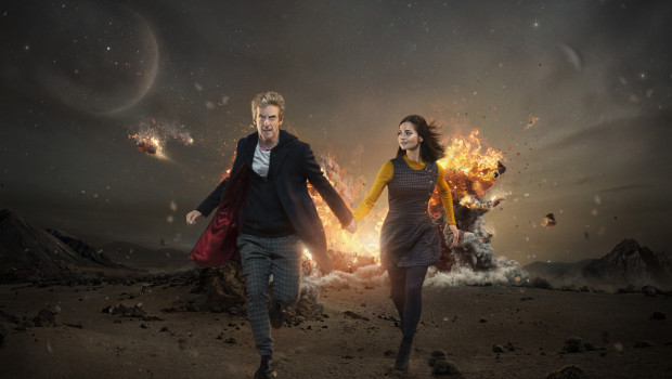 Picture shows: Peter Capaldi as the Doctor and Jenna Coleman as Clara.