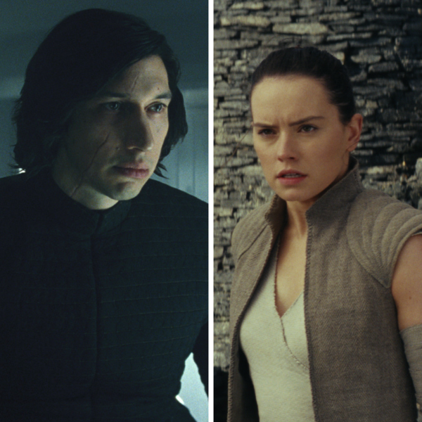 Kylo (Adam Driver) and Rey (Daisy Ridley) in The Last Jedi