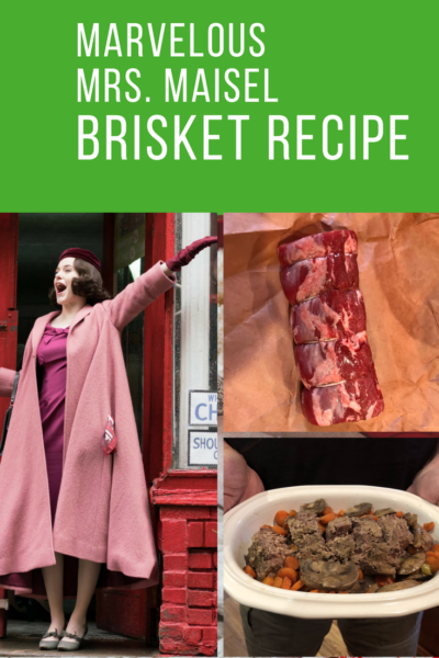 Collage of pictures of a woman and a brisket