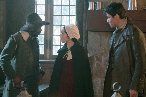 """TIMELESS -- """"The Salem Witch Hunt"""" Episode 204 -- Pictured: (l-r) Michael Barrett as Rufus Carlin, Abigail Spencer as Lucy Preston, Goran Visnjic as Garcia Flynn -- (Photo by: Patrick Wymore/NBC)"""