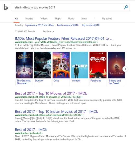 IMDb Top Movies 2017 Search Results