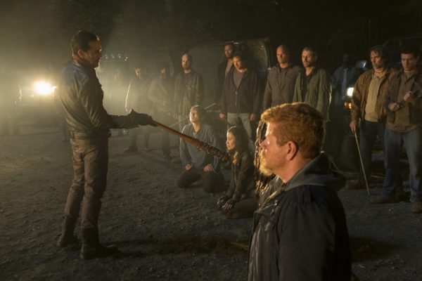 Jeffrey Dean Morgan as Negan, Michael Cudlitz as Sgt. Abraham Ford, Danai Gurira as Michonne, Norman Reedus as Daryl Dixon, Christian Serratos as Rosita Espinosa, Steven Yeun as Glenn Rhee - The Walking Dead Photo Credit: Gene Page/AMC