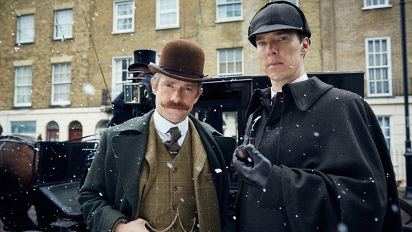 Martin Freemand as Dr. Watson and Benedict Cumberbatch as Sherlock Holmes in 'The Abominable Bride' / BBC
