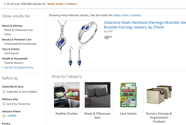 Amazon Deals Search Results