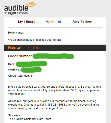 Audible Refund