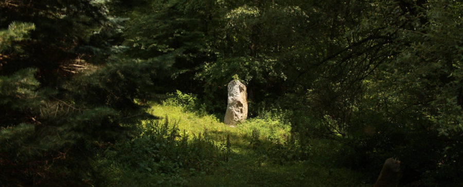 Sunlit Stone at Columcille Megalith Park by Ray Moore