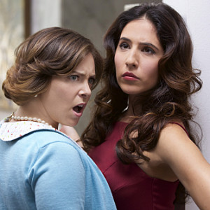 "Crazy Ex-Girlfriend -- ""My First Thanksgiving With Josh!"" -- Image Number: CEG106a_0090.jpg -- Pictured (L-R): Rachel Bloom as Rebecca and Gabrielle Ruiz as Valencia -- Photo: Tyler Golden/The CW -- © 2015 The CW Network, LLC. All rights reserved."