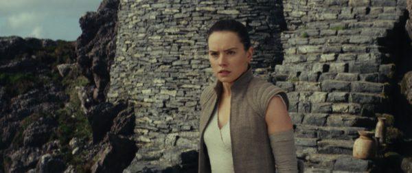 Rey on the island in Star Wars: The Last Jedi